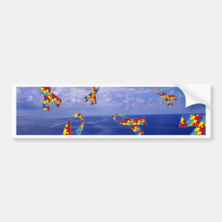 Autism Awareness Ribbons Cascading Over the Sea Bumper Sticker