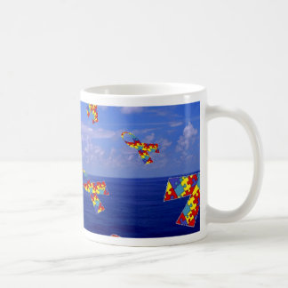 Autism Awareness Ribbons Cascading Over the Sea Coffee Mug