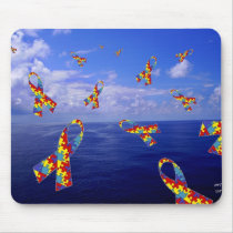 Autism Awareness Ribbons Cascading Over the Sea Mouse Pad