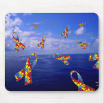 Autism Awareness Ribbons Cascading Over the Sea Mousepads