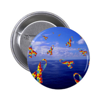 Autism Awareness Ribbons Cascading Over the Sea Pinback Button