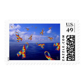 Autism Awareness Ribbons Cascading Over the Sea Postage Stamp