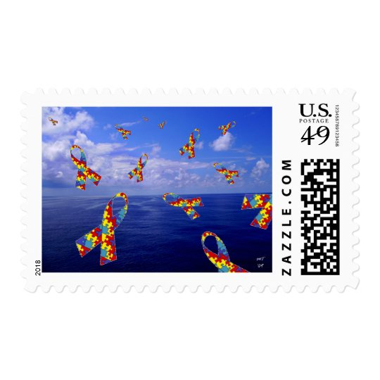 Autism Awareness Ribbons Cascading Over the Sea Postage