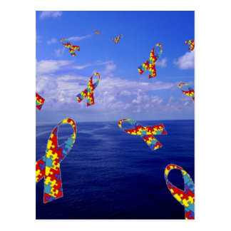 Autism Awareness Ribbons Cascading Over the Sea Postcard