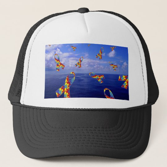 Autism Awareness Ribbons Cascading Over the Sea Trucker Hat