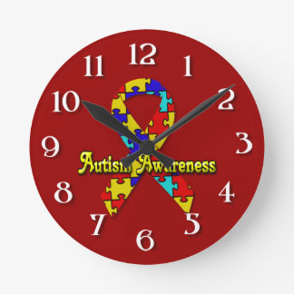 Autism Awareness Round Clock