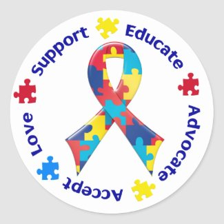 Autism Accept Love Support Educate Advocate Round Stickers
