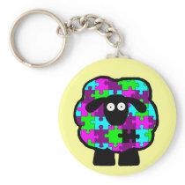 Autism Awareness Sheep Keychain