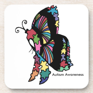 Autism Awareness side butterfly Coaster