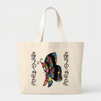Autism Awareness side butterfly Large Tote Bag