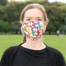 Autism Awareness Splatter Jigsaw Puzzle Pieces Adult Cloth Face Mask