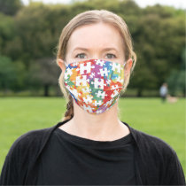 Autism Awareness Splatter Jigsaw Puzzle Pieces Cloth Face Mask