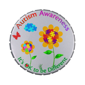 Autism Awareness Sunflower Jelly Belly Candy Tins