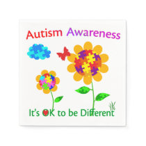 Autism Awareness Sunflower Paper Napkin