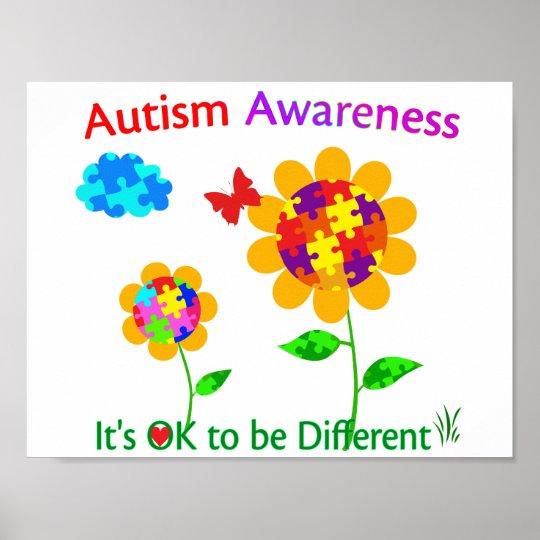 Autism Awareness Art Posters Framed Artwork: Autism Awareness Sunflower Poster