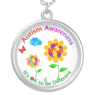 Autism Awareness Sunflower Silver Plated Necklace