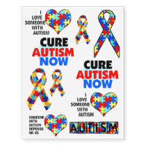 Autism Awareness Support Advocacy Educate Cure Temporary Tattoos
