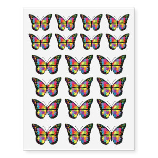 Autism Awareness Support Butterfly Puzzle Temporary Tattoos
