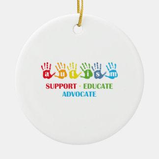 Autism Awareness : Support Educate Advocate Ceramic Ornament