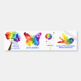 Autism Awareness Support Rainbow Puzzle Designs Bumper Sticker