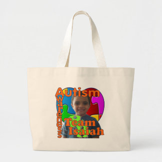 Autism Awareness- Support Team Isaiah Large Tote Bag