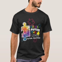 Autism Awareness T shirt Colour outside the line T