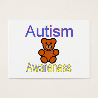 autism awareness teddy bear with ribbon business card