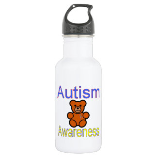 autism awareness teddy bear with ribbon stainless steel water bottle