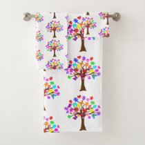 Autism Awareness Tree Bath Towel Set