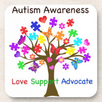 Autism Awareness Tree Beverage Coaster