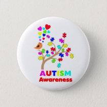 Autism awareness tree button