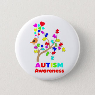 Autism awareness tree button