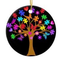 Autism Awareness Tree Ceramic Ornament