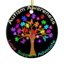 Autism Awareness Tree Ceramic Ornament