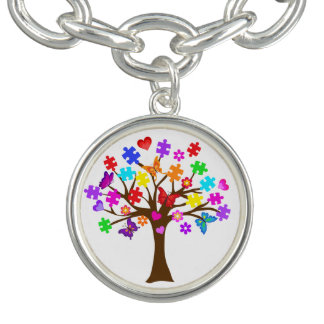 Autism Awareness Tree Charm Bracelet