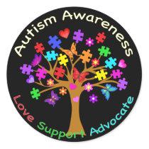 Autism Awareness Tree Classic Round Sticker