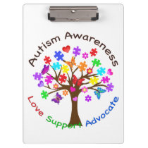 Autism Awareness Tree Clipboard