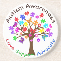 Autism Awareness Tree Coaster
