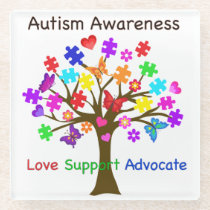 Autism Awareness Tree Glass Coaster