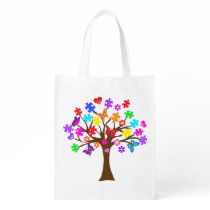 Autism Awareness Tree Grocery Bag