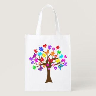Autism Awareness Tree Grocery Bag