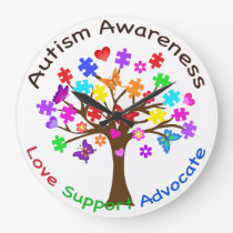 Autism Awareness Tree Large Clock