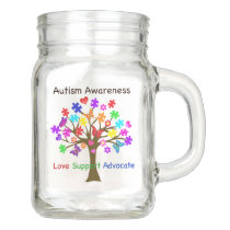 Autism Awareness Tree Mason Jar