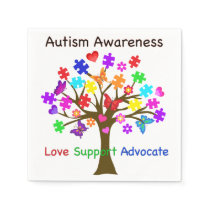 Autism Awareness Tree Napkin