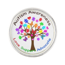 Autism Awareness Tree Pin
