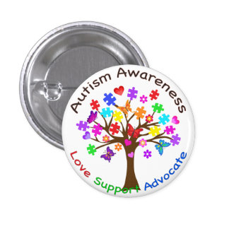 Autism Awareness Tree Pinback Button