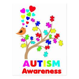Autism awareness tree postcard