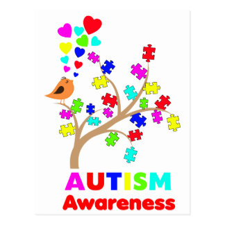 Autism awareness tree postcard