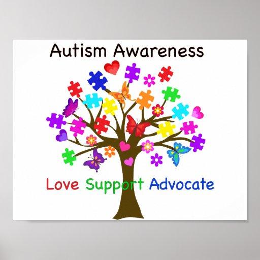 Autism Awareness Art Posters Framed Artwork: Autism Awareness Tree Poster