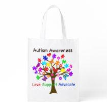 Autism Awareness Tree Reusable Grocery Bag